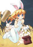blonde_hair blue_eyes bunnysuit food gloves hammer long_hair mochi moon pantyhose pony_tail usagimimi