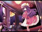 blush clock dress hat long_hair moon patchouli_knowledge purple_hair ribbon touhou