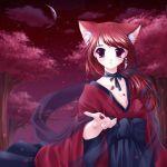 bow kimono long_hair moon nekomimi piercing red_eyes redhead