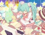 aqua_hair cake cameo candy candy_apple checkered computer cream_puff food garters hatsune_miku kaito kaito_(cameo) lollipop long_hair lots_of_laugh_(vocaloid) nayu pastry popsicle star stuffed_animal stuffed_toy swirl_lollipop teddy_bear twintails very_long_hair vocaloid