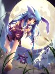 blue_hair brown_hair kimono long_hair moon rabbit red_eyes twintails usagimimi