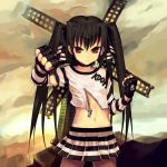 black_hair choker fingerless_gloves flat_chest gloves goth highres kooh loli long_hair midiman midriff navel pangya punk red_eyes skirt skull striped striped_skirt stripes thumbs_down twintails unzipped windmill zipper