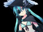 1girl bikini_top black blue_eyes blue_hair detached_sleeves eye_patch eyepatch front-tie_top hat hatsune_miku long_hair mani pirate pirate_hat solo surprised twintails vocaloid wrap