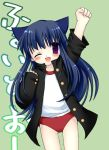 bloomers blue_hair higurashi_no_naku_koro_ni long_hair nekomimi open_shirt pe_uniform rika_furude sports_uniform uniform violet_eyes