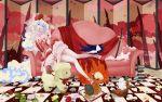 book boota cape cat corset couch dress flower frills garter_belt gloves highres jewelry lipstick lolita_fashion long_hair lying multicolored_hair nia_teppelin pink pink_dress ribbon solo stuffed_animal stuffed_toy sword tengen_toppa_gurren_lagann thigh-highs thighhighs two-tone_hair veil very_long_hair wallpaper weapon