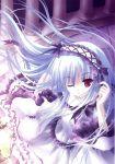 dress frills headdress highres lolita_fashion long_hair nail_polish purple_eyes tinker_bell violet_eyes wink