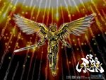 1boy armor artist_request garo garo_(series) gold_armor golden male runes solo sword weapon wings