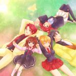 blonde_hair blue_eyes butterfly closed_eyes crown dress glasses hair_bobbles hair_ornament hand_holding holding_hands long_hair lying maekawa_suu necktie ponytail red_hair ribbon short_hair skirt smile thigh-highs thighhighs umineko_no_naku_koro_ni ushiromiya_ange ushiromiya_battler ushiromiya_george ushiromiya_jessica ushiromiya_maria zettai_ryouiki