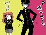 hands_on_hips kujikawa_rise persona persona_4 reverse_trap school_uniform shirogane_naoto short_hair translated translation_request twintails umetani_chigusa yudetama