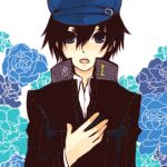 androgynous black_hair blue_eyes blush cabbie_hat hat lowres persona persona_4 reverse_trap school_uniform shirogane_naoto short_hair solo