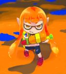 1girl from_above grin inkling long_hair mask nintendo orange_eyes orange_hair pointy_ears shoes short_sleeves shorts smile solo splatoon tentacle_hair tentacles water_gun