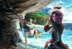 aguy beach cave clouds eyepatch fingerless_gloves gloves halo headgear kantai_collection necktie open_mouth purple_hair scenery short_hair sky smile tatsuta_(kantai_collection) tenryuu_(kantai_collection) thigh-highs yellow_eyes