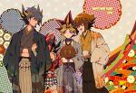 2013 4boys :d argyle bandages blonde_hair bracelet buckle character_request duel_monster embarrassed floral_print fudou_yuusei hakama hands_in_sleeves haori happy_new_year hexagon holding hug hug_from_behind japanese_clothes jewelry kimono kuriboh li_mone male multicolored_hair multiple_boys open_mouth pink_hair short_hair sleeves_past_wrists smile spiky_hair traditional_clothes two-tone_hair unmoving_pattern yami_yuugi yuu-gi-ou yuu-gi-ou_5d's yuu-gi-ou_duel_monsters yuu-gi-ou_gx yuuki_juudai