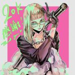 1girl bangs black_gloves black_jacket blonde_hair blunt_bangs border chain clothing_cutout collarbone commentary english_commentary english_text glasses gloves grey_border hand_up heart heart_cutout holding holding_nunchaku holding_weapon instagram_username jacket lipstick long_hair long_sleeves looking_at_viewer makeup milestone_celebration number nunchaku original parted_lips pink_background pink_lipstick red_eyes solo thank_you translation_request upper_body v weapon zzyzzyy