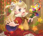 1girl ;d apron asymmetrical_hair blonde_hair blue_eyes bow brown_background cropped_jacket crown dress highres long_hair mini_crown mojuke one_eye_closed open_mouth outstretched_hand pupuru_(sei_madou_monogatari) red_dress sei_madou_monogatari side_ponytail smile solo striped striped_background wand wink
