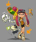 1girl bike_shorts cat goggles goggles_on_head inkling long_hair mask pointy_ears purple_hair shoes sneakers solo splatoon squid super_soaker twintails violet_eyes