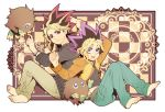2boys barefoot blonde_hair casual checkered checkered_background chesha clenched_hand duel_monster full_body green_pants kuriboh male multicolored_hair multiple_boys mutou_yuugi out_of_frame pants pink_eyes pullover purple_hair redhead sitting spiky_hair two-tone_hair yami_yuugi yuu-gi-ou yuu-gi-ou_duel_monsters