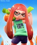 1girl bike_shorts flat_chest inkling long_hair mask neocoill over_shoulder payot pink_hair pointy_ears serious sleeveless solo splatoon super_soaker tentacle_hair twintails weapon weapon_over_shoulder