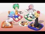 4girls :d animal_ears antennae arm_support bandages barefoot bike_shorts bird_wings blonde_hair blue_eyes blue_hair blush bow candy cape cato_(monocatienus) cirno closed_eyes collarbone cookie dress eating elbow_gloves fang food ghost_costume gloves gloves_removed green_eyes green_hair hair_bow hair_ribbon halloween_costume hoodie ice ice_wings midriff miniskirt multiple_girls mummy mystia_lorelei navel open_mouth paw_gloves pillow plate pocky purple_hair reaching red_eyes ribbon rumia shirt short_hair short_sleeves shorts shrug sitting skirt sleeveless sleeveless_shirt sleeves_past_wrists smile socks striped striped_legwear team_9 thigh-highs touhou tsurime wariza wings witch wolf_ears wriggle_nightbug