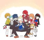 1boy 6+girls aegis amagi_yukiko android aqua_hair black_hair blonde_hair blue_eyes blue_hair brown_hair chibi closed_eyes dog flower hair_flower hair_ornament hairband hat kida_yu kirijou_mitsuru knitting koromaru kujikawa_rise kuma_(persona_4) long_hair multiple_girls persona persona_3 persona_4 persona_q redhead robot satonaka_chie school_uniform shirogane_naoto short_hair skirt smile stuffed_animal stuffed_toy takeba_yukari tatsumi_kanji yamagishi_fuuka