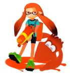gun inkling kerekere nintendo orange_eyes orange_hair pointy_ears smile splatoon squid twintails weapon
