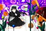 1girl akemi_homura barefoot bed black_hair blanket dress flower funeral_dress hairband highres intravenous_drip long_hair looking_at_viewer mahou_shoujo_madoka_magica mahou_shoujo_madoka_magica_movie needle nut_(food) outstretched_arm ruler sitting solo spoilers syringe violet_eyes witch's_labyrinth zumikuni