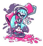 1girl crayon-chewer headphones highres inkling long_hair roller splatoon spot_color tongue twintails