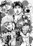 bud_(korovsme) dio_brando flower jojo_no_kimyou_na_bouken jonathan_joestar millipen_(medium) monochrome multiple_persona traditional_media wang_chan
