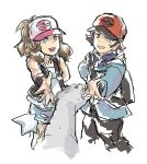 1boy 1girl backpack bag blue_eyes brown_eyes njike outstretched_hand pokemon pokemon_(game) pokemon_bw ponytail shorts touko_(pokemon) touya_(pokemon)