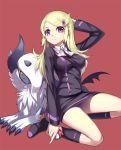 1girl absol ace_trainer_(pokemon) blonde_hair hair_ornament hairclip mega_absol mega_pokemon poke_ball pokemon pokemon_(creature) pokemon_(game) pokemon_xy ririko_(zhuoyandesailaer) skirt thighs violet_eyes