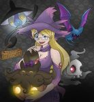 azami blonde_hair blue_eyes duskull glasses halloween lampent mismagius original pokemon pumpkaboo zubat