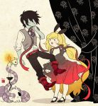 1boy 1girl adventure_time alternate_costume animal_ears blonde_hair blush dress fionna genderswap gothic_lolita grey_skin hiyori_chisha lolita_fashion long_hair marshall_lee rabbit_ears short_hair skull snake