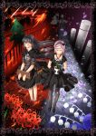 2girls akemi_homura asami_saki barefoot black_gloves black_hair black_legwear closed_eyes divinebuster12 dress fire flower flower_pot funeral_dress glasses gloves guillotine hairband highres homulilly long_hair mahou_shoujo_kazumi_magica mahou_shoujo_madoka_magica mahou_shoujo_madoka_magica_movie multiple_girls pink_hair semi-rimless_glasses short_hair smile spider_lily spoilers stocks under-rim_glasses yellow-framed_glasses