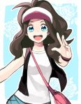 blue_eyes brown_hair happy long_hair pokemon ponytail touko_(pokemon) visor