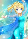 1girl ayase_eli blonde_hair blue_eyes breasts cape clarinet_(natsumi3230) cosplay dress elsa_(frozen) elsa_(frozen)_(cosplay) frozen_(disney) long_hair looking_at_viewer love_live!_school_idol_project ponytail snowflakes