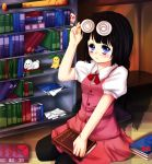 1girl april4luck bangs baseball_cap black_hair blood blue_eyes blush book bookshelf braid buttons collared_shirt copyright_name glasses_on_head hat highres holding library_(misao) long_hair looking_at_viewer misao pink_skirt plush red_ribbon ribbon school_uniform seiza single_braid sitting skirt solo thigh-highs wavy_mouth