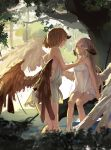 2girls absurdres feathered_wings ghostas highres horns multiple_girls rough tagme wading wings