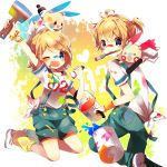 >_< blonde_hair blue_eyes blush bracelet bucket crossover hair_ornament hair_ribbon hairclip highres jewelry kagamine_len kagamine_rin leg_warmers minun mouth_hold niwa_(ejizon) one_eye_closed paint paint_roller paintbrush plusle pokemon ribbon short_hair suspenders vocaloid wink