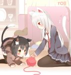 2girls :< all_fours animal_ears black_hair black_legwear black_skirt blue_clothes blush cat_ears cat_tail english glass green_eyes highres long_hair multiple_girls necktie non_(wednesday-classic) original pillow plate red_clothes red_eyes red_tie school_uniform short_hair sitting skirt tail thigh-highs wariza white_clothes white_hair yarn yarnball