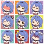 >_< /\/\/\ 1girl ? angry blue_hair blush blush_stickers confused confusion crossed_arms expressions furutani_himawari hairband inaharu school_uniform shaded_face shocked_eyes smile solo spoken_blush triangle_mouth yuru_yuri