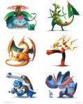 arkeis-pokemon artist_name beak black_eyes blastoise blaziken blue_eyes bulbasaur cannon charizard charmander claws flame flower highres kicking leaf marshmallow mega_blastoise mega_blaziken mega_charizard_y mega_pokemon mega_sceptile mega_swampert mega_venusaur mudkip muscle no_humans parent_and_child plant pokemon pokemon_(creature) red_eyes roasting sceptile shadow squirtle swampert torchic treecko venusaur vines watermark