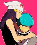 1boy 1girl beanie blue_eyes blue_hair blush hair_kiss hat hetero hikari_(pokemon) li_sakura pokemon pokemon_(game) pokemon_dppt team_galactic team_galactic_grunt