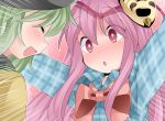 2girls arms_up blush bow bust commentary_request green_hair hammer_(sunset_beach) hat hata_no_kokoro komeiji_koishi long_hair mask multiple_girls open_mouth pink_eyes pink_hair plaid plaid_shirt short_hair smile touhou