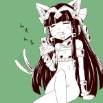 1girl :3 :t animal_ears arm_support armlet bangs bastet_(p&d) black_hair blunt_bangs bottomless bracelet cat_ears cat_girl cat_tail closed_eyes crossed_legs eating egyptian egyptian_clothes fang flat_chest food green_background hair_ornament headdress jewelry long_hair mazikayu midriff mound_of_venus navel necklace puzzle_&_dragons sandwich simple_background sitting smile solo tail tail_wagging text