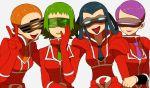4girls akebi_(pokemon) bara_(pokemon) blue_hair correa_(pokemon) green_hair li_sakura lipstick makeup momiji_(pokemon) multiple_girls purple_hair redhead team_flare v