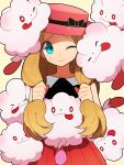 1girl blue_eyes cheek_press hat highres li_sakura one_eye_closed pokemon pokemon_(creature) pokemon_(game) pokemon_xy serena_(pokemon) sweatdrop swirlix too_many wink