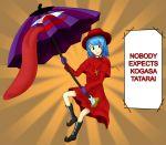 1girl blue_hair cowl cross crossover english hat heterochromia monty_python red_hat shinichi-toramaru solo spanish_inquisition tagme tatara_kogasa touhou