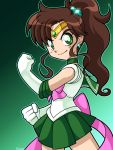 1girl bishoujo_senshi_sailor_moon brown_hair choker circlet earrings elbow_gloves forehead_jewel gloves green_eyes green_skirt hair_bobbles hair_ornament jewelry kino_makoto long_hair magical_girl robert_j_case sailor_jupiter sash skirt smile solo white_gloves