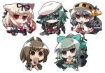 >:d 5girls :/ :3 :d akaneya black_hair bow brown_eyes brown_hair cape chibi clenched_hands detached_sleeves eyepatch green_eyes green_hair hair_bow hair_ornament hair_ribbon hairband hairclip haruna_(kantai_collection) hat i-401_(kantai_collection) kantai_collection kiso_(kantai_collection) long_hair machinery multiple_girls nontraditional_miko open_mouth red_eyes ribbon school_swimsuit school_uniform serafuku short_hair simple_background smile swimsuit swimsuit_under_clothes sword torpedo turret weapon white_background yuubari_(kantai_collection) yuudachi_(kantai_collection)