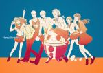 amagi_yukiko androgynous cabbie_hat carrying_overhead cellphone closed_eyes clothes_around_waist hairband hanamura_yousuke happy_birthday hat headphones headphones_around_neck jacket_around_waist kujikawa_rise kuma_(persona_4) laughing long_hair multiple_boys multiple_girls mz narukami_yuu necktie pants persona persona_4 phone reverse_trap satonaka_chie school_uniform shirogane_naoto short_hair skirt smartphone smile tatsumi_kanji twintails